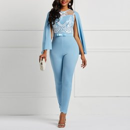 $enCountryForm.capitalKeyWord Australia - Women Sky Blue Spring Summer Cape Sleeve Romper Floral See Through Lace Patchwork Backless Office Lady Long Harem Pants Jumpsuit Y19071701