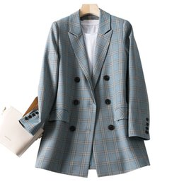 ladies simple jacket NZ - Stylish Plaid Ladies Blazer Gray Loose Casual Simple Vintage Suit Jacket Chamaras Mujer Spring Korean Women Blazer New MM60NXZ