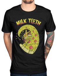 Discount anti wave - Official Milk Teeth Pizza Wave T-Shirt Sad Sack Smiling Politely Vile Child BandFunny free shipping Unisex Casual Tshirt