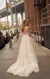 Berta Black Summer Dresses Australia - 2019 Bohemian Berta Wedding Dress Summer Appliqued Lace A-Line V Neck Sexy Boho Wedding Dress Garden Blackless Bridal Gowns Vestido De Novia