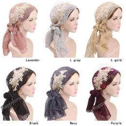 $enCountryForm.capitalKeyWord Australia - New luxury Women Pre-Tied Bandana head wrap metallic wrinkle Head Scarf Chemo Hair Cover Hat Cancer Hats hair accessories