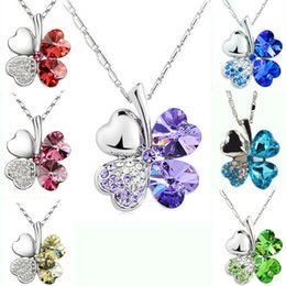 Wholesale 10 colors Luxury Austrian crystal Necklaces Four leaf clover Plant leaves Pendant Silver plated chains For women Fashion Jewelry Gift