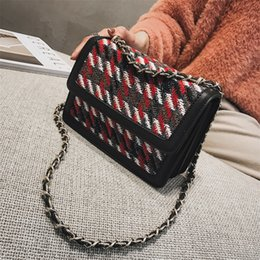 Luxury Chains Australia - High Quality Chain Casual Wild Shoulder Bag Brand Women's Handbags Hit Color Wool Square Bags Luxury Designer Crossbody Bags