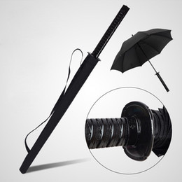 Japanese Samurai Swords Umbrella Sunny & Rainny Long-handle Umbrellas Semi-automatic 16 Ribs Black Umbrellas on Sale