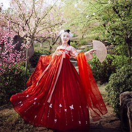 chinese dance costumes women 2020 - China Princess Hanfu Costume for Women Elegant Red Female Chinese Ancient and Traditional Adult Clothes Folk Dance Outfi