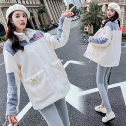 Lamb cardigans online shopping - 2019 Winter Online Celebrity Popular Brand Lambs Wool Coat Women s Hong Kong Flavor Retro Contrast Color Fluffy Cardigan Hoodie