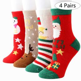 $enCountryForm.capitalKeyWord Australia - 4 8 Pairs Free Size Christmas Coral Fleece Sock Cartoon Socks Gift Indoor For Woman Man Kids Cotton Thickened Christmas Decor