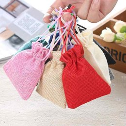 wedding wholesale cosmetic bag Australia - 50 Bag 7*9cm Colorful Linen Gift Bag Small Jute Pouch Jewelry Ring Necklace Drawstring Bag Cosmetic Sample Storage Wedding Favors Packing