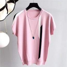 $enCountryForm.capitalKeyWord Australia - Summer Female Knit Tee Top O Neck Sweater T Shirt Short-Sleeved Striped Casual T Shirt