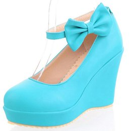 $enCountryForm.capitalKeyWord NZ - Hot2019 Pedal One Slope Shallow Mouth Bow Super High With Single Shoe Girl Blue Pink Colour Beige Woman Shoes Set Foot