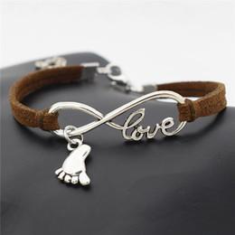 $enCountryForm.capitalKeyWord Australia - Infinity Love Foot Feet Pendant Diy Charm Bracelet Bangles Couples Men Women Woven Braided Dark Brown Leather Suede Rope Unisex Jewelry Gift