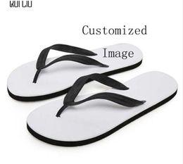 $enCountryForm.capitalKeyWord Australia - Customized Image LOGO Print Summer Beach Flip Flops Women Slippers Sandals Painting Art Printing Lady Flats Shoes