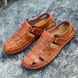 Beach Shoes 47 Australia - New Summer 2019 Leisure Beach Men Casual Shoes High Quality Genuine Leather The Men's Sandals Big size 38-47