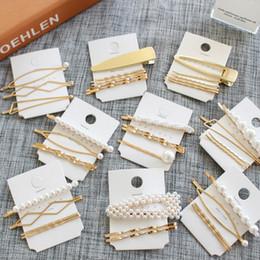 $enCountryForm.capitalKeyWord NZ - 3pcs set Women Hair Accessories Hair Clip with Simple Design Golden Liu Hai word clip edge clip ins card