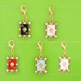 $enCountryForm.capitalKeyWord Australia - DIY metal dangle enamel playing card poker connector charms with clasp pendants for bracelet necklace earring jewelry making