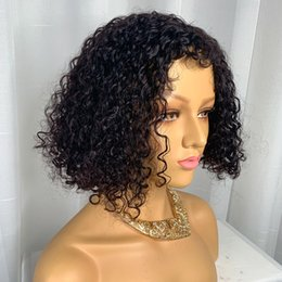 Human Hair sHort curls online shopping - Lace Front Human Hair Wigs Bob Curly Human Hair Wigs Natural Color Human Hair Jerry Curl Wig Short Bob Wig Pre Plucked