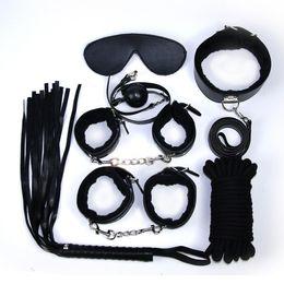 Restraint Suit Australia - Adult Leather Bondage Fetish BDSM Handcuffs Ankle Cuffs Restraints Sex Toy New 7 pieces suit