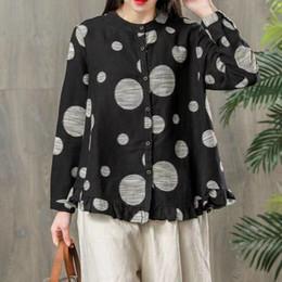 $enCountryForm.capitalKeyWord NZ - QPFJQD Literary Vintage Women Cotton Linen Tops Polka Big Dots Blouse Female Work Casual Full Sleeve Button Tunic Blusas Shirts