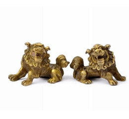 Yellow Pole UK - Feng Shui lucky Exorcise evil spirits Fuzhou copper Bronze Lion lucky feng shui ornaments of bronze Home Decor [a pair]