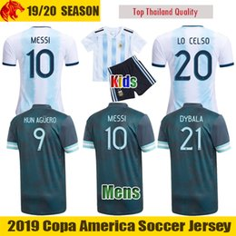 kid argentina messi jersey NZ - 19 20 Fans & Player Version Argentina Soccer Jerseys MESSI LAUTARO Football Shirt KUN AGUERO Mens Uniform Kids Kit LO CELSO DYBALA Jersey