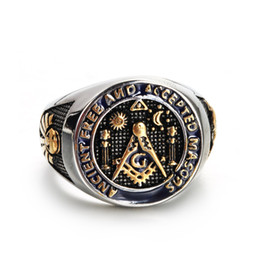 stainless steel masonic rings Australia - New Arrival Fashion Unique Stainless Steel Moon And Star Ancient Free And Accepted Masons Masonic signet ring Gold Blue Lodg jewelry for men