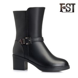 $enCountryForm.capitalKeyWord NZ - FSJ Genuine Cow Leather Woman Winter Mid Calf Motorcycle Zip Boots Wool Buckle Solid Kid Suede Sewing Casual Office Career shoes