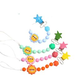 cute pacifiers for babies 2021 - Hot sale Cartoon Baby Pacifier Chain Silicone Beads Dummy Clip Holder Cute Pacifier Clips Soother Chains for Baby Chew BPA