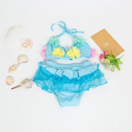 Swimwear Infant Australia - Floral Summer Girls Swimwear Infant Baby Swimwear For Girls Biquini Infantil Bathing Clothes Backless Weight 6to10kg
