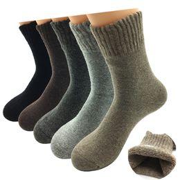 Cashmere Socks Knee Australia - 5 Pairs  Lot Thick Wool Socks Men Winter Cashmere Breathable Socks Male Meias 5 Colors Hot Sale