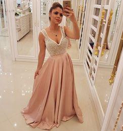 $enCountryForm.capitalKeyWord UK - Pearls New Prom Dresses V-neck Tank Long Satin Party Gowns A-line Robe De Bal Femme Longue