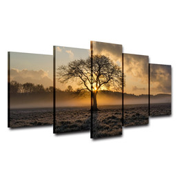 $enCountryForm.capitalKeyWord UK - Canvas Painting Vintage Wall Art Frame Printed Pictures 5 Panel Poster Sunrise Tree Landscape Photo For Living Room Decor No Frame