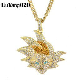 gold dragon charms 2019 - Dragon Ball Character Pendant Necklace Iced Out Cubic Zirconia Hip Hop Gold Silver Color Men Charms Chain Jewelry discou