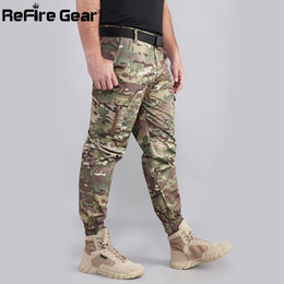 Paintball Tactical Gear Australia - ReFire Gear Camouflage Tactical jogger pants Men Many Pockets Army Combat Cargo Pants Paintball Cotton Trousers