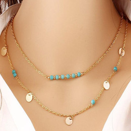 $enCountryForm.capitalKeyWord Australia - Women Chain Necklace Multilayer Wafer Turquoises Pendant Necklace Jewelry Howlite Stone Fashion Jewellery bijoux Fantaisie free shipping