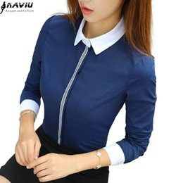 $enCountryForm.capitalKeyWord NZ - New Fashion Women Cotton Shirt Spring Formal Elegant Patchwork Blouse Office Ladies Work Wear Plus Size Tops Navy Blue White Y190510