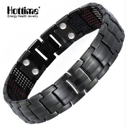 $enCountryForm.capitalKeyWord Australia - Hottime 591pcs Energy Stone Titanium Steel Magnetic Bracelets & Bangles Black Gun Plated Germanium Bracelet Fashion Men Jewelry J190625