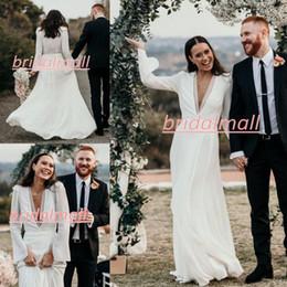 ElEgant chiffon wEdding drEssEs online shopping - Bohemian Deep V Neck Chiffon Beach Wedding Dresses Elegant Long Sleeve Boho Country Bridal Gowns Sweep Train Outdoor Vestidos De Novia