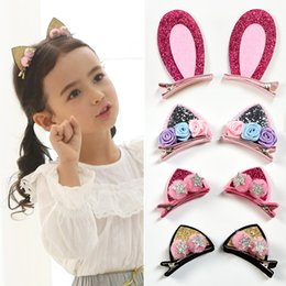 cute cat ears hair clip NZ - 2pcs Set Cute Hair Clips For Girls Glitter Rainbow Felt Fabric Flowers Hairpins Cat Ears Bunny Barrettes Kids Hair Accessories
