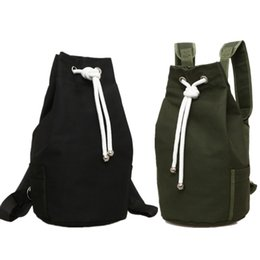 c2ede27cf8 Zaini a tracolla verde online-New Canvas DrawString Backpack Bucket Basket  football sport Fitness Bag