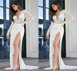 sexy country shirts Australia - 2020 Sexy High Slit Lace Wedding Dresses Deep V neck Long Sleeves Country Designer Cheap Sweep Train Wedding Bridal Gowns Plus size New