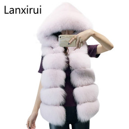 Wholesale black hooded fur vest resale online - Faux Fur Coats Women New Fashion Thicken Women Sleeveless Faux Fur Vest Colors Hooded Vest Streetwear Waistcoat