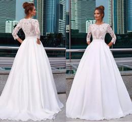 $enCountryForm.capitalKeyWord Australia - Elegant Satin 2019 Wedding Dresses Jewel Neck 3 4 Long Sleeve Lace Appliques Country Beach Bridal Gowns Pocket Vestido De Novia