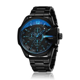 Wholesale D4318 Mens Analog Quartz Watch Fashion Sport Wristwatch Waterproof Black Stainless Steel Male Watches Clock Relogio Masculino Drop shipping