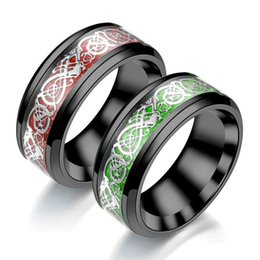 d4cb245a7a9 King Will Dragon Tungsten Steel Rings 8mm Green Red Carbon Fiber Black  White Celtic Dragon Carbide Ring for Men Comfort Fit Wedding Band