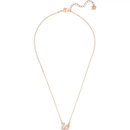 China Pink Swan Shape Necklace Womens Diamonds Pendant banquet Style Necklace Fashion Sport Accessories Mother's Day Gifts Valentine's Day Gifts cheap swan diamond pendant suppliers