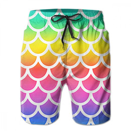 board rainbow 2019 - Rainbow Mermaid Seamless Fish Scale Custom Mens Quick Dry Beach Board Shorts Elastic Waist Swim Trunks Male Casual Short