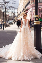 Side dreSSing online shopping - Luxury Champagne A line Lace Wedding Dress With Deep V Neck Vintage Backless Appliqued Plus Size Sweep Train Bridal Gown Custom Made BC2177