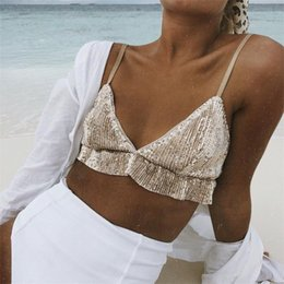 backless strap NZ - Shiny Sequin Crop Tops Camis Summer Spaghetti Strap V-Neck Sexy T Shirt Women Ruffles Streetwear Backless Cropped Tees