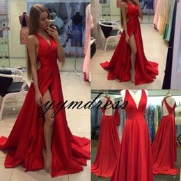 Nude Red Lining Dress Australia - Red Evening Dresses 2019 A Line High Side Split Prom Wear Formal Party Gowns Sleeveless Floor Length Special Occasion Dress