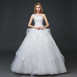 Lace One Shoulder Wedding Gown Australia - Luxury One-Shoulder Lace Wedding Dresses Floor-Length Ball Gown Wedding Dress Church Castle Princess Dream Bridal Gowns